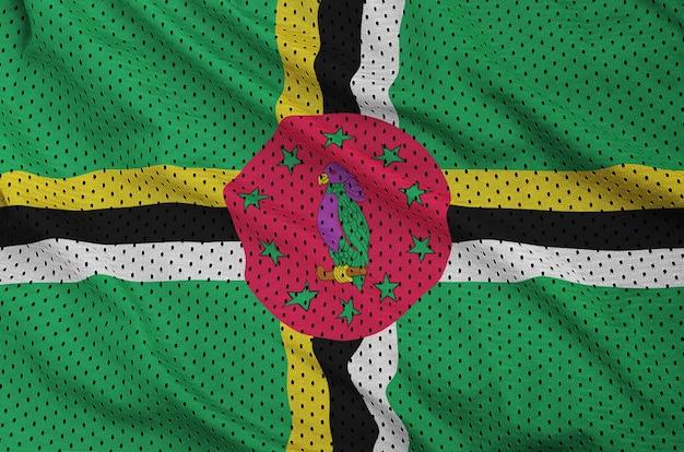 Bandiera della dominica stampata su un tessuto a rete per abbigliamento sportivo in nylon poliestere