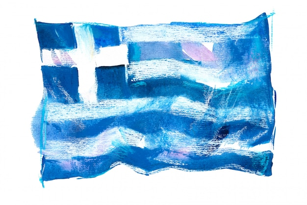 Bandiera della grecia dipinta ad acquerelli