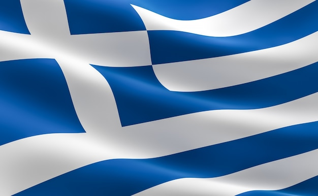 Bandiera della grecia. illustrazione 3d della bandiera greca agitando.