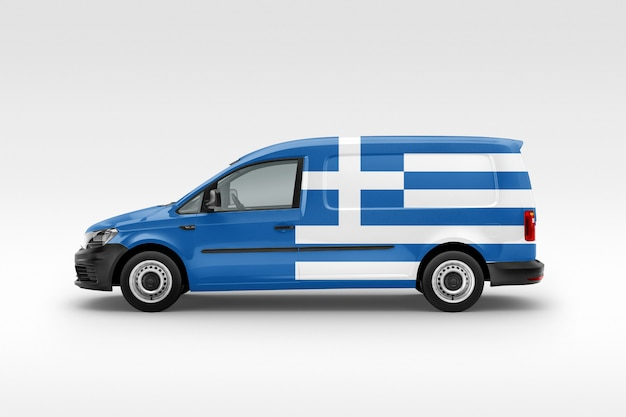 Bandiera della grecia su van