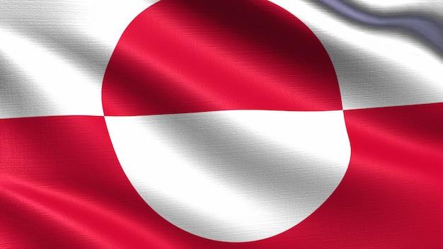 Bandiera della groenlandia, con trama del tessuto ondeggiante