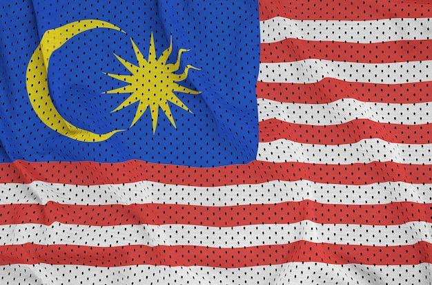 Bandiera della malesia stampata su un tessuto a rete per abbigliamento sportivo in nylon poliestere