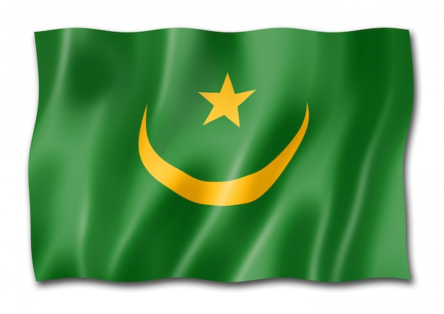 Bandiera della mauritania isolata su bianco