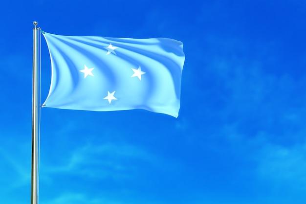 Bandiera della micronesia sulla rappresentazione del fondo 3d del cielo blu