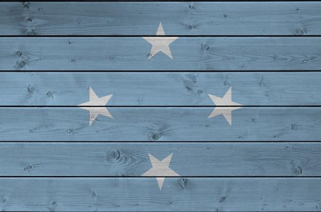 Bandiera della micronesia sulla vecchia parete di legno