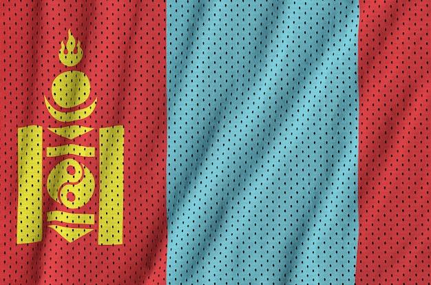 Bandiera della mongolia stampata su un tessuto a rete per abbigliamento sportivo in nylon poliestere