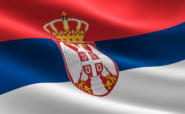 Bandiera della serbia. illustrazione della bandiera serba agitando.