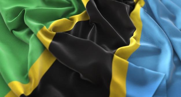 Bandiera della tanzania increspato splendamente sventolando macro close-up shot