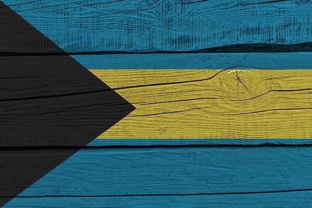 Bandiera delle bahamas dipinta su vecchia plancia di legno