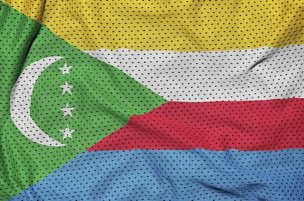 Bandiera delle comore stampata su una rete di nylon poliestere