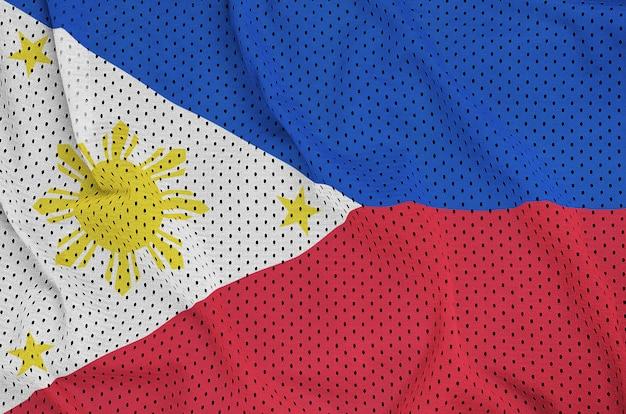 Bandiera delle filippine stampata su un tessuto a rete di abbigliamento sportivo in nylon poliestere