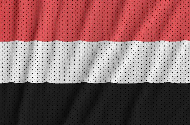 Bandiera dello yemen stampata su un tessuto a rete per abbigliamento sportivo in nylon poliestere