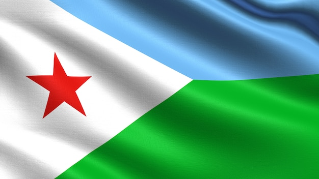 Bandiera di gibuti, con trama del tessuto ondeggiante