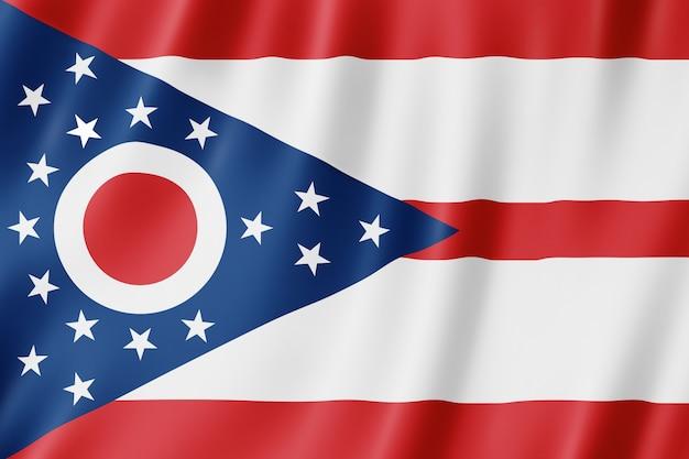 Bandiera di ohio, stati uniti. illustrazione 3d della bandiera dell'ohio sventola.