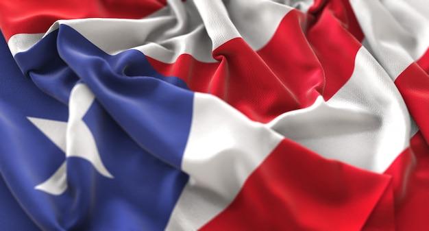 Bandiera di puerto rico increspato splendente salutare macro close-up shot