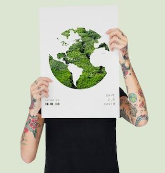 Bandiera di sovrapposizione grafica di rete holding uomo