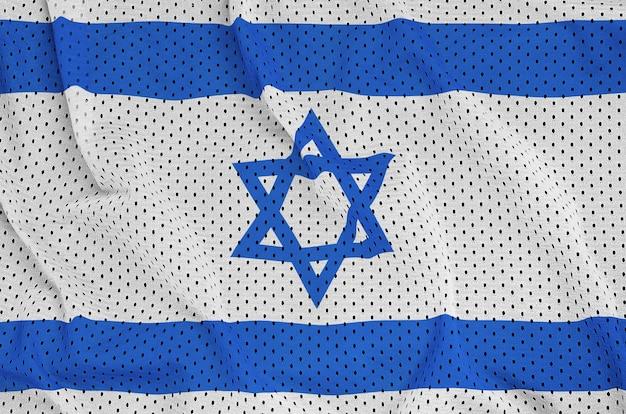 Bandiera israeliana stampata su un tessuto a rete per abbigliamento sportivo in nylon poliestere