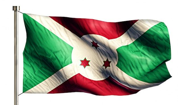 Bandiera nazionale burundi isolato 3d sfondo bianco