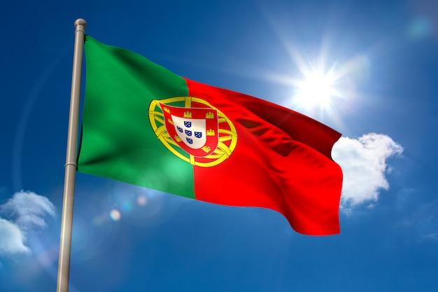 Bandiera nazionale del portogallo sull'asta della bandiera
