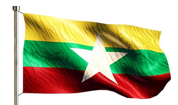 Bandiera nazionale di myanmar isolato 3d sfondo bianco