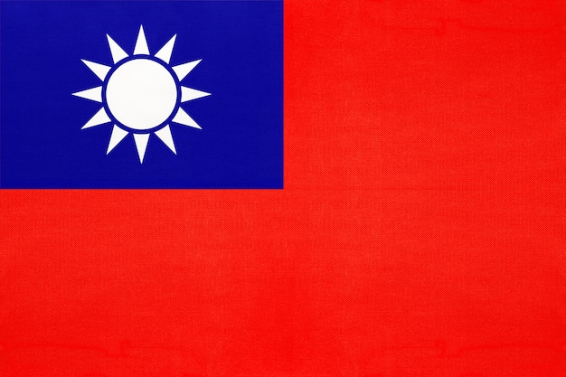 Bandiera nazionale di taiwan in tessuto sfondo tessile, simbolo del mondo asiatico paese,
