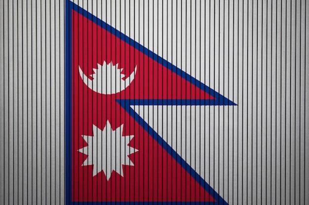 Bandiera nazionale dipinta del nepal su un muro di cemento