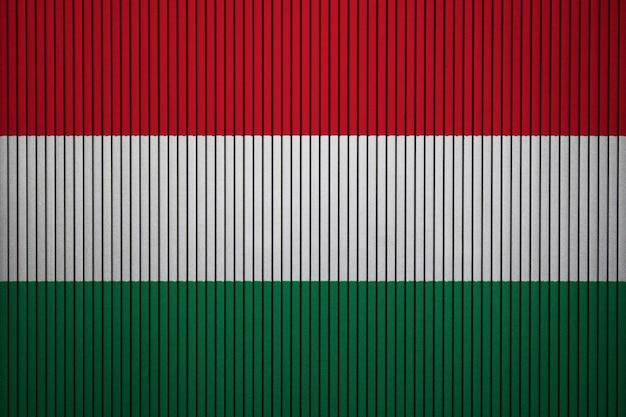 Bandiera nazionale dipinta dell'ungheria su un muro di cemento