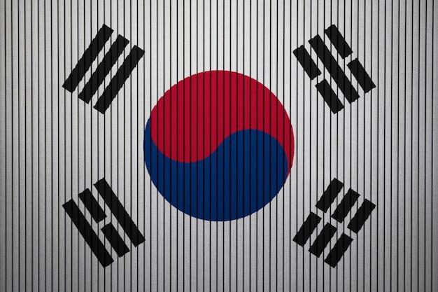 Bandiera nazionale dipinta della corea del sud su un muro di cemento