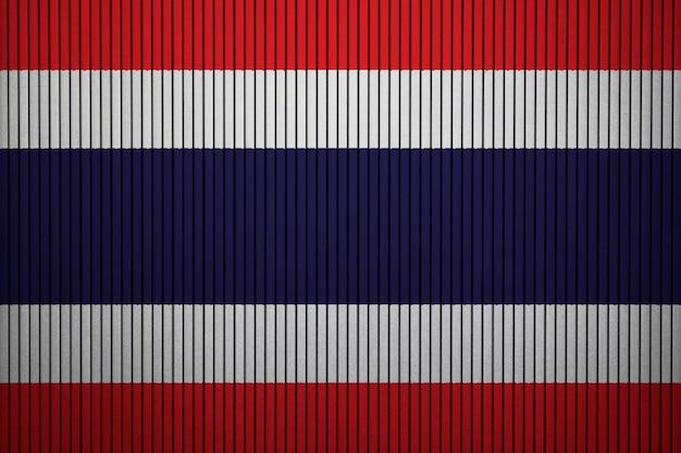 Bandiera nazionale dipinta della tailandia su un muro di cemento