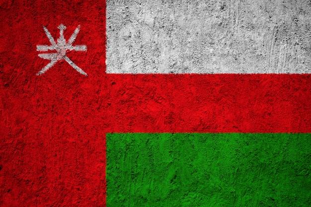 Bandiera nazionale dipinta di oman su un muro di cemento