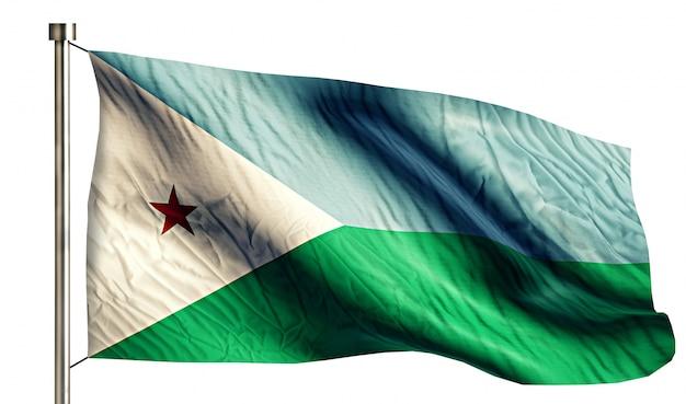 Bandiera nazionale djibouti isolato sfondo bianco 3d