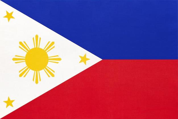 Bandiera nazionale filippina tessuto sfondo tessile, simbolo del mondo asiatico paese,