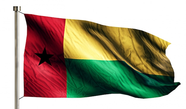 Bandiera nazionale guinea bissau isolato 3d sfondo bianco