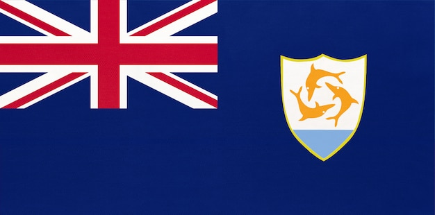 Bandiera nazionale in tessuto anguilla, sfondo tessile. simbolo del territorio britannico d'oltremare nei caraibi