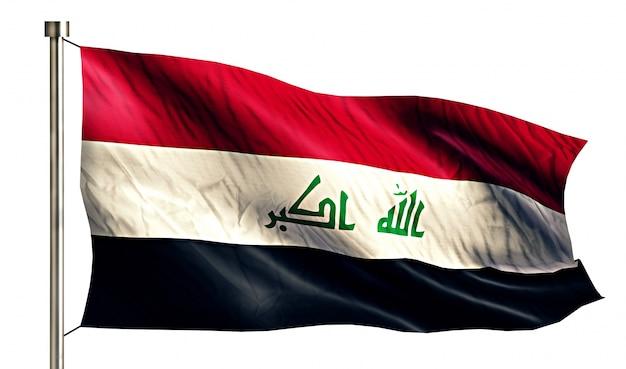 Bandiera nazionale iraq isolato 3d sfondo bianco
