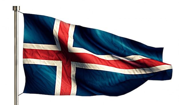 Bandiera nazionale islanda isolato 3d sfondo bianco
