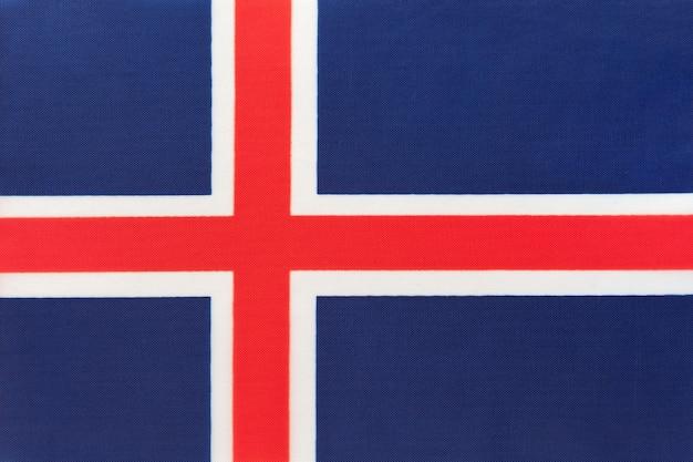 Bandiera nazionale islandese in tessuto, sfondo tessile, simbolo del paese europeo internazionale del mondo,