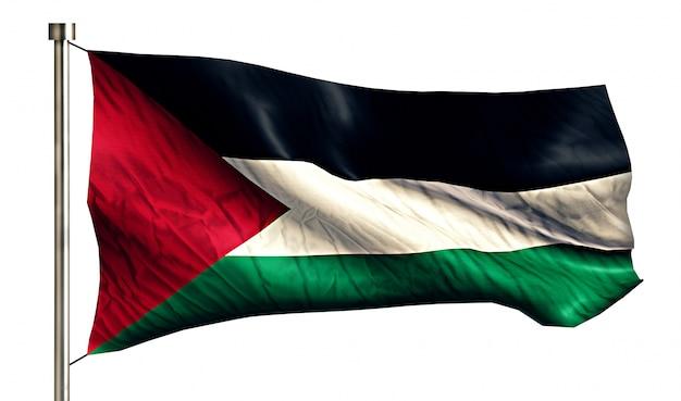 Bandiera nazionale palestina isolato 3d sfondo bianco