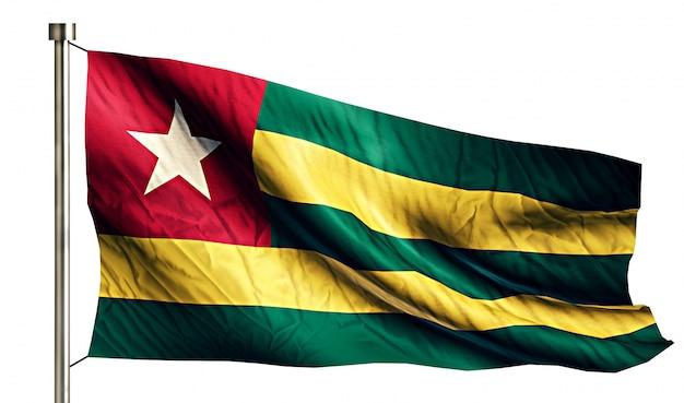 Bandiera nazionale togo isolato 3d sfondo bianco