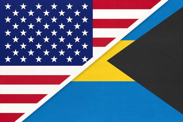 Bandiera nazionale usa vs bahamas. relazione tra due paesi.