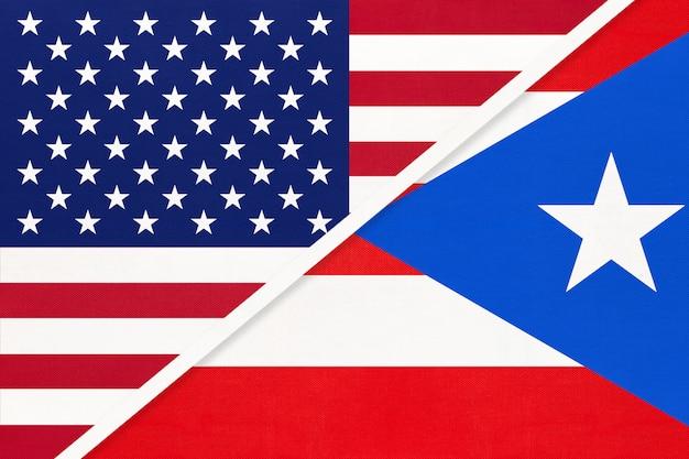 Bandiera nazionale usa vs puerto rico. relazione tra due paesi.