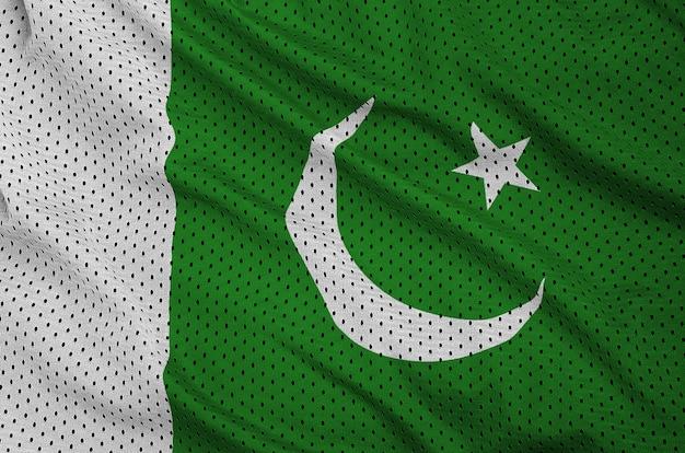 Bandiera pakistana stampata su un tessuto a rete sportivo in nylon poliestere