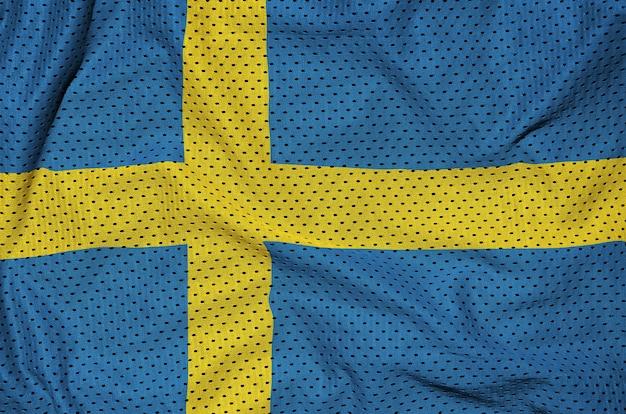 Bandiera svezia stampata su una rete di nylon poliestere