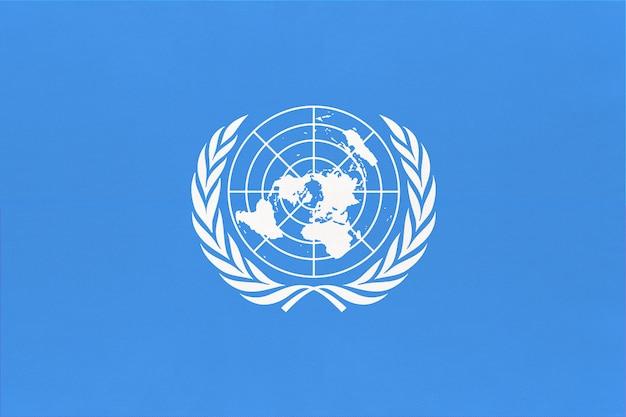 Bandiera ufficiale delle nazioni unite delle nazioni unite. segno della comunità internazionale del mondo.
