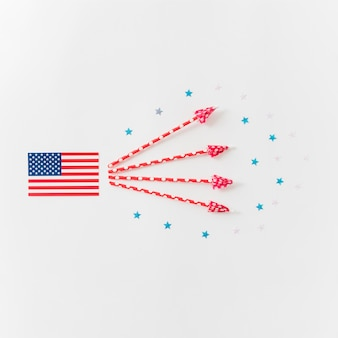 Bandiera usa con frecce decorative