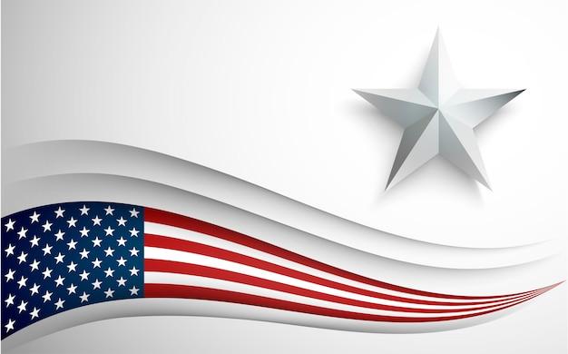 Bandiera usa con stella su bianco.