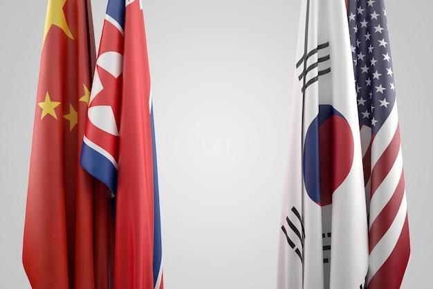 Bandiere degli stati uniti, cina, corea del sud e corea del nord