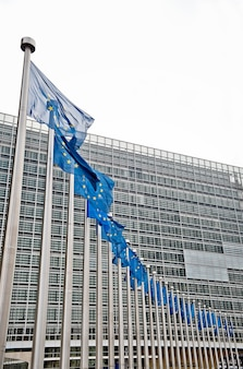 Bandiere europee di fronte all'edificio berlaymont, bruxelles, belgio