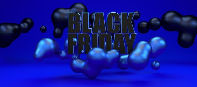 Banner blu metallico lungo venerdì nero. modello della pubblicità dell'illustrazione della rappresentazione 3d.