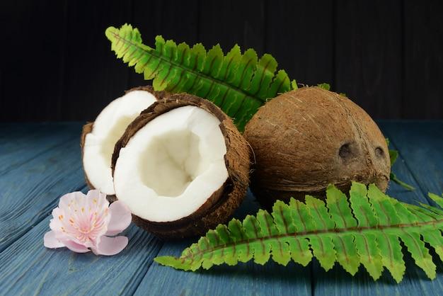 Banner cocco esotico frutto intero e mezzo con foglie verdi